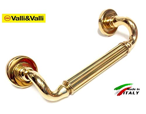Maniglia per porta garda Valli/&Valli finitura cromo lucido su rosetta grane e viti di fissaggio Coppia di maniglie su rosetta fornita di perno quadro 8mm,rosetta cilindrica,bocchetta con foro chiave