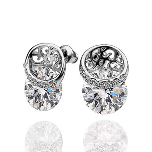 Ornament Eco Rose Silver Stud Earrings/Women/Silver Shining/Diamond/White Crystal/Crystal Transparent/Crystal Element Drop Earrings,Colour:B Bracelets Earrings Rings Necklaces