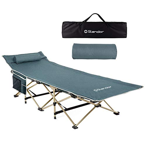 Slendor Folding Camping Cots for Adults Portable Outdoor Bed Heavy Duty Sleeping Cot for Camp with Pillow and Carry Bag, 1200D Double Layer Oxford, 500 LBS(Max Load)
