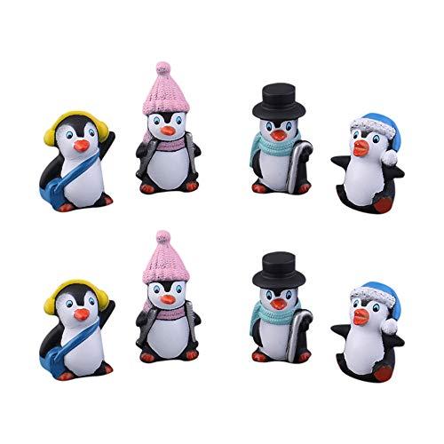 MOPOIN Pinguin Figuren, 2 Set (8 Stücke) Kleine Tiere Figuren Tier Sammlung Spielset Four Small Penguins Table Decoration für Kindertag, Vatertag Home Decoration Home Accessories Gift