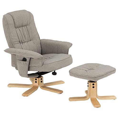 IDIMEX Relaxsessel Charly, schöner Fernsehsessel mit Hocker, bequemer Drehsessel mit verneigungsverstellbarer Rückenlehne, gepolsteter Polstersessel mit Stoffbezug in grau