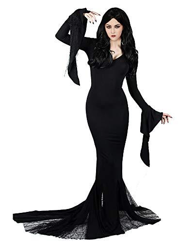 Cosplay.fm Women's Vintage Morticia Costume Dress Plus Size (L, Black)