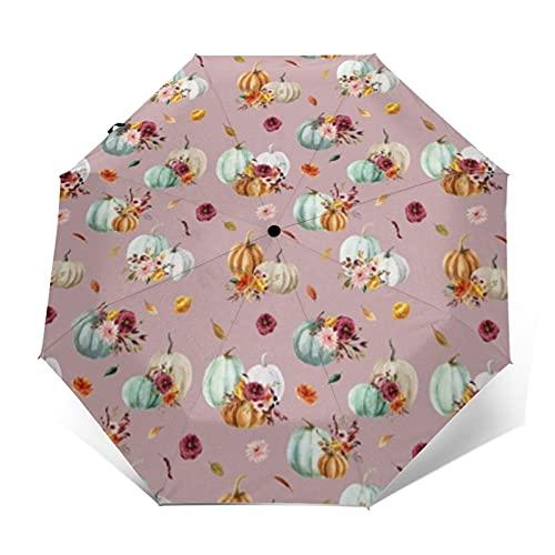 Paraguas compacto de viaje a prueba de viento paraguas de calabaza sidra florales almeja concha reforzada Canopy auto abierto y cierre botón