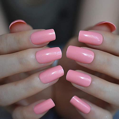 WUXI Ongles carrés Corée Slim Solid Pink Ongles artificiels