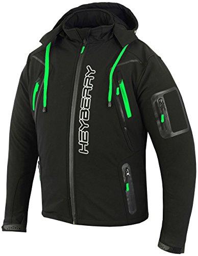HEYBERRY Soft Shell Motorradjacke Textil Schwarz/Neon Gr. L
