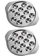 Angoily - Juego de 2 platos de caracol planos de acero inoxidable, 12 agujeros de compartimentos, platos de cocción, para caracol, barbacoa, champiñón, color plateado