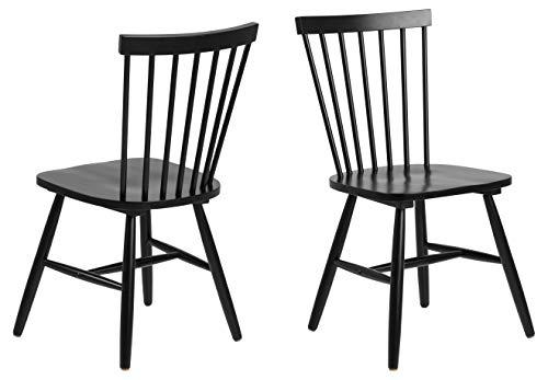 AC Design Furniture Stuhl Susanne, B: 48,5 x T:48 x H: 86 cm, Rubberwood, Schwarz