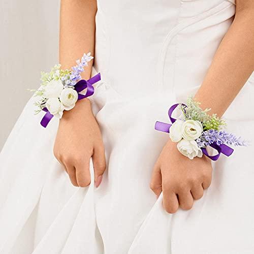 IYOU 2 piezas Novia Muñeca Cuerpo Púrpura Flor Boda Pulsera Paseo Ceremonia Muñeca Flor por Novia y Dama de Honor