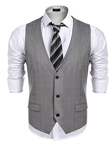 Burlady Weste Herren Anzug Western Weste Ärmellose V-Ausschnitt Slim fit Anzugweste Business Hochzeit Grau XL