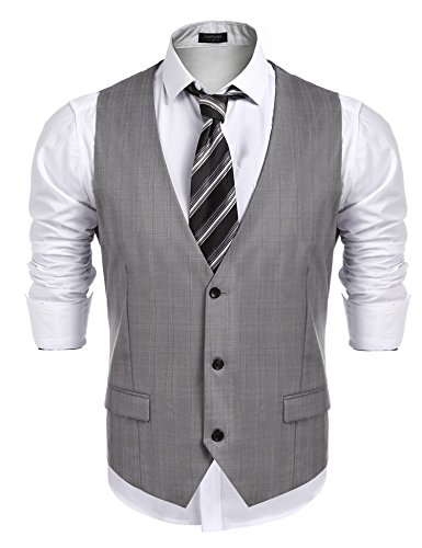 COOFANDY Men's Business Suit Vest,Slim Fit Skinny Wedding Waistcoat,Gray,Large