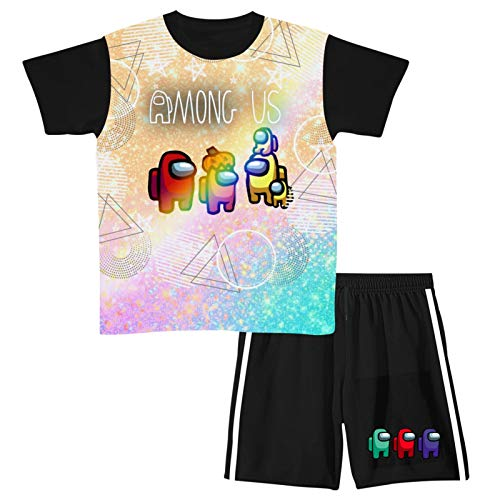 Pink Among Us Youth T-Shirts and Shorts Set,2 Piece Outfits Clothes Set Short Sleeve Tracksuit for Girls and Boys