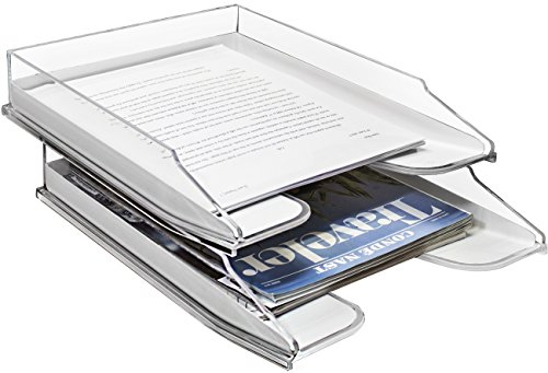 Sorbus Letter Tray Organizer, Stackable Acrylic Paper Tray, Clear Desk Table File Holder - 2 Level, Desktop File Storage, Stackable Magazine Holder, Mail Sorter, for Home, Office Organization Shelves