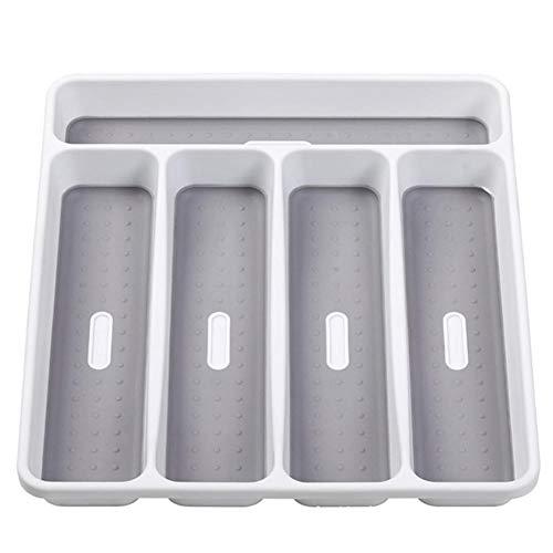 Odoukey Cubiertos Bandeja cajón 5 de células de plástico Bastidor Cubiertos almacenaje del cajón Bandeja Cuchara Estante Tenedor Oficina Cocina