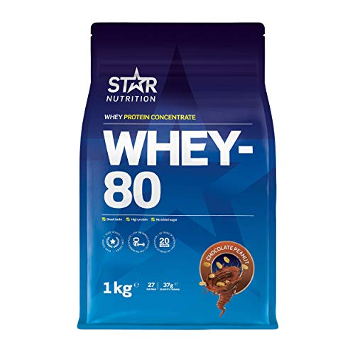 Star Nutrition | Whey 80 | Pure Concentrated Diet Whey Protein Powder with High Protein & Low Sugar | Protein Powders for Perfect Protein Shakes | Chocolate Peanut Flavor | 1Kg