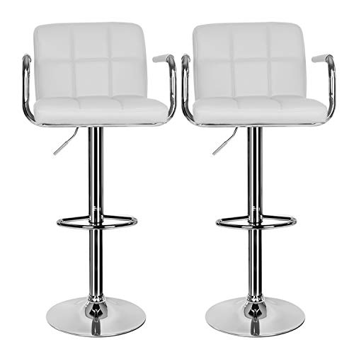 2 pcs Bar Stool,Leather White Kitchen Bar Stool Swivel Gas Lift Breakfast Bar Stool with Armrest and Chrome Footrest,Breakfast Bar/Counter/Kitchen Home Furniture