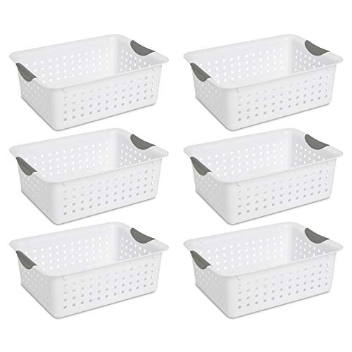 Sterilite 16248006 Medium Ultra Basket, White Basket w/ Titanium Inserts, 6-Pack Illinois