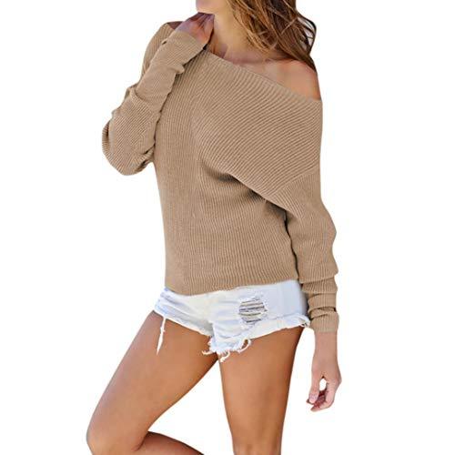 ESAILQ Frau Gestrickte Langärmliges Schulterfreies T-Shirt(XL,Khaki)