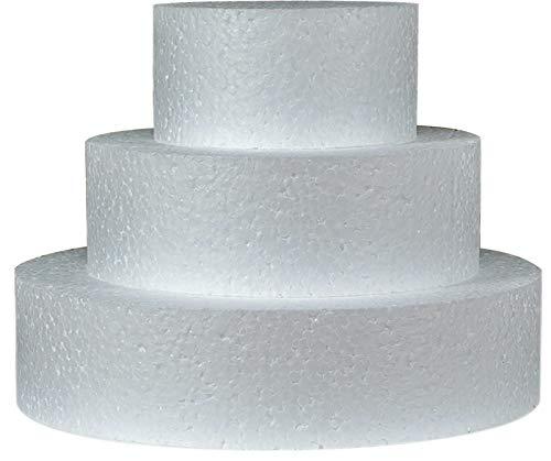 Styropor A3995993 Torte Set dreistöckig H 5cm, 10cm 15cm 20cm, EPS, weiß