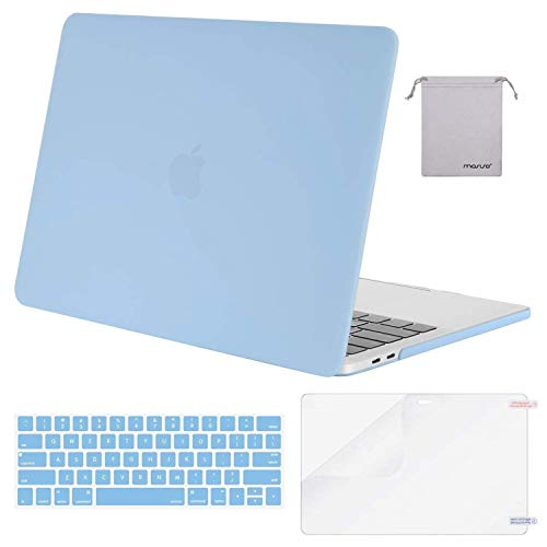 MOSISO Compatible with MacBook Pro 15 inch Case 2019 2018 2017 2016 Release A1990 A1707 with Touch Bar, Plastic Hard Shell Case & Keyboard Cover & Screen Protector & Storage Bag, Airy Blue