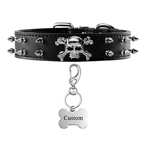 Filhome Custom Spiked Dog Collar with Dog Id Tags, Adjustable Leather Studded Dog Collar with Engraved Dog Name Tags