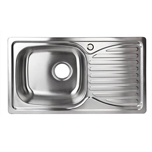 Stabilo-Sanitaer Einbauspüle aus hochwertigem Edelstahl, Spülbecken rechteckig, Ablagefläche rechts, klassische Küchenspüle in schönen und modernen Design