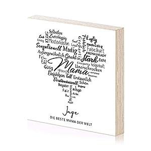 Beste Mama Muttertagsgeschenk personalisiertes Holzbild 15×15 zum Hinstellen oder Aufhängen als Geschenk-Idee