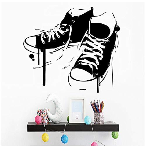 MINGKK - Adhesivo decorativo para pared, diseño de zapatos de dibujos animados para la sala de estar, extraíble, para cocina, restaurante, decoración de pared, 57 x 64 cm