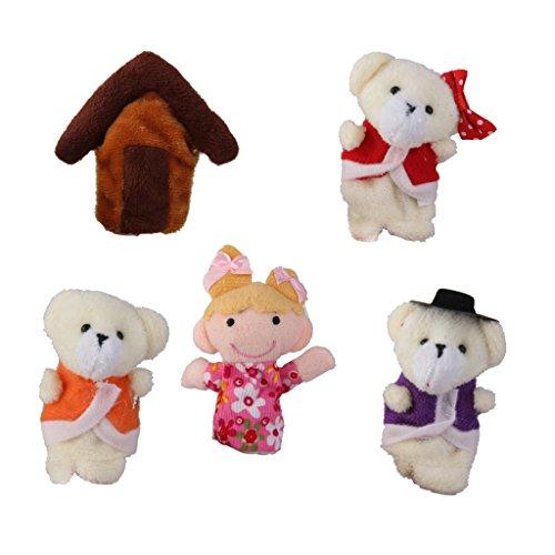5 Piezas Goldilocks Peluche Diseño de Oso Marioneta de Mano Dedos de Casa