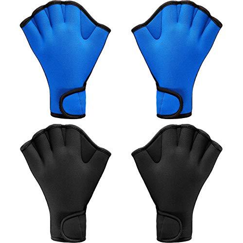 2 Pairs Swimming Gloves Aqua Fit Swim Training Gloves Neoprene Gloves Webbed Fitness Water Resistance Training Gloves for Swimming Diving with Wrist Strap (Black, Blue, Large)