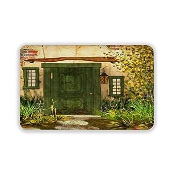 Door Rug 16x24inch Rustic Cottage Door Overgrown Bushes Grass Tree Garden Brick Fairy Tale Countryside Outdoor Front Door Mat Bathroom Mat Rubber Foldable Anti-Slip Door Mat CCN