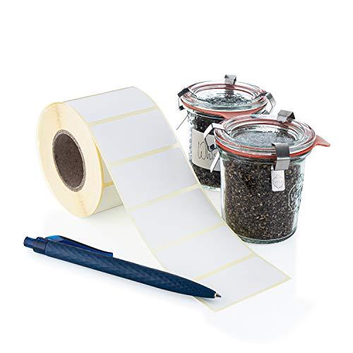 DESIGN WUNDER® - 1000 blanko Etiketten selbstklebend/weiße Klebeetiketten zur Beschriftung, nutzbar als Aufkleber für Vorratsdosen, Marmeladengläser als Gefrieretiketten & Tiefkühletiketten