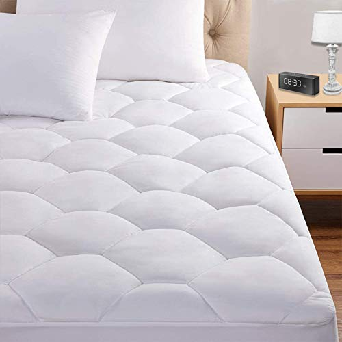 Queen Mattress Pad, 8-21' Deep Pocket Protector Ultra Soft Quilted Fitted Topper Cover Fit for Dorm Home Hotel -White