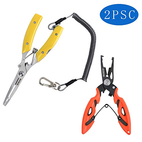 FNODGOING Fishing Pliers 2PCS Curved Nose Scissors Braid Fishing Line Cutters Split Ring Pliers Fish Hook Remover Braid Wire Cutter Holder Stainless Steel Multi-Tools Fishing (Yellow+Orange)