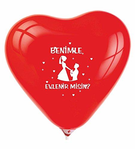 Neco - Moden 10 x Luftballons für die perfekte Liebeserklärung, Heiratsantrag , evlenme teklifi , evlilik teklifi , Merry me , Hochzeit , Antrag , Braut , Bräutigam , Valentinstag , Liebe , Love ,