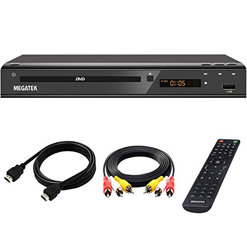 DVD Player, Megatek DVD Player for TV with HDMI Output Full HD 1080p Upscaling, Supports Multi Region Free DVDs & All Formats, USB Port, Premium Metal Casing, Compact Design, with Remote & HDMI Cable