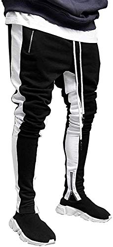 Astellarie Mens Sport Slim Fit Track Pants Running Athletic Jogger Bottom Casual Pants with Drawstring (32'-35',Black)