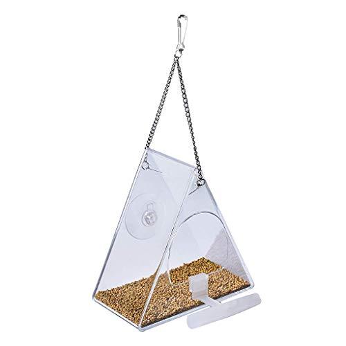 R1vceixowwi Casita colgante de acrílico con ventosas, ideal para poner café de pájaros
