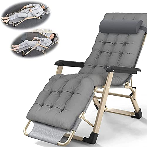 JHFR Sedia Reclinabile Pieghevole Zero Gravity Lounge Chair Oversize XL, Sedie a Sdraio Cuscino in Cotone per Giardino Patio Esterno Lettini Prendisole Letto Reclinabile con Cuscino per La Testa