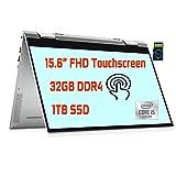 """Dell Inspiron 15 7000 2021 Premium 2 in 1 Laptop I 15.6"""" FHD Touchscreen I Intel 4-Core i5-10210U(i7-8665U) I 32GB DDR4 1TB SSD I Thunderbolt Backlit FP Win 10 + Delca 32GB MicroSD Card"""