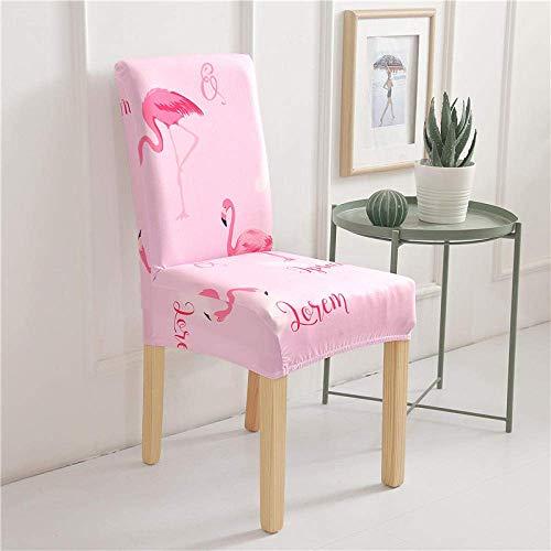 DQWGSS Stuhlbezug Rosa Flamingo Stretch Esszimmerstuhlbezüge Stuhllehne mit hoher Rückenlehne Schutzhülle, abnehmbare Schonbezüge aus weichem Spandex-Esszimmerstuhl für Hotel-Esszimmerküche (6er-Pa