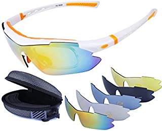 LOVE'S Polarized Sports Sunglasses with 5 Interchangeable Lenes for Cycling Running