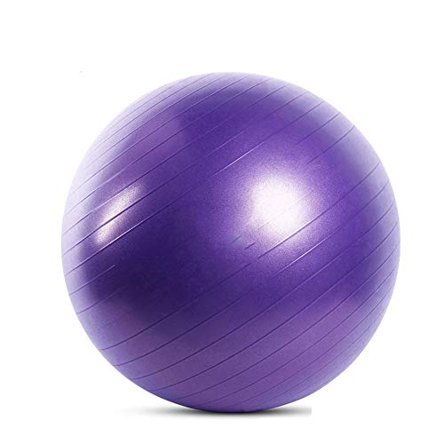 Gymnastikball, Balance Ball 55cm/65cm/75cm Yoga Ball mit Pumpe Anti-Burst Fitness Balance Ball for Core Strength (Color : Purple, Size : 55cm)