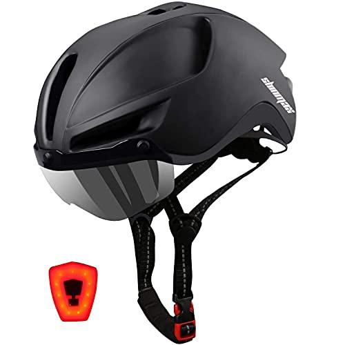 Shinmax Fahrradhelm Herren Damen Fahrradhelm für Erwachsenen mit USB LED Licht,Fahrradhelm mit Visier,CE Zertifikat Einstellbar EPS Innenschale Fahrradhelm MTB mit Aufbewahrungstasche 57-62CM(RC-088)