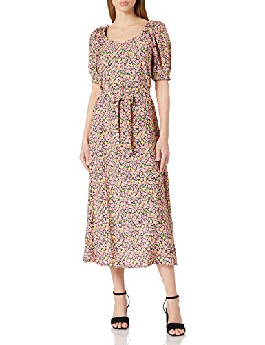 VERO MODA Damen VMELLIE 2/4 7/8 Dress WVN Kleid, Geranium Pink/AOP:Ellie, XS