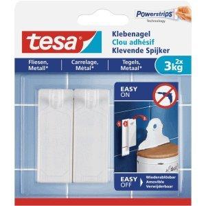 Tesa - Clavos adhesivos para azulejos y metal (3 kg), color blanco