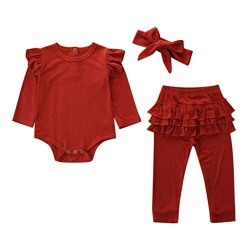 LEXUPE Neugeborene Kinder Baby Mädchen Outfits Kleidung Strampler Bodysuit + Streifen Lange Hosen Set(Rot,70)
