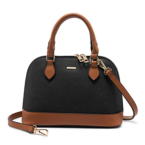 Small Crossbody Bags for Women Classic Double Zip Top Handle Dome Satchel Bag Shoulder Purse Black&Brown