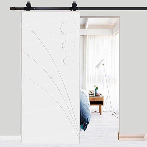 Riel para puerta corredera, puerta corredera de chapado, kit de accesorios para la puerta de la casa, carga máxima 120 kg, color negro 78,7 pulgadas (6,6 ft-plegado)