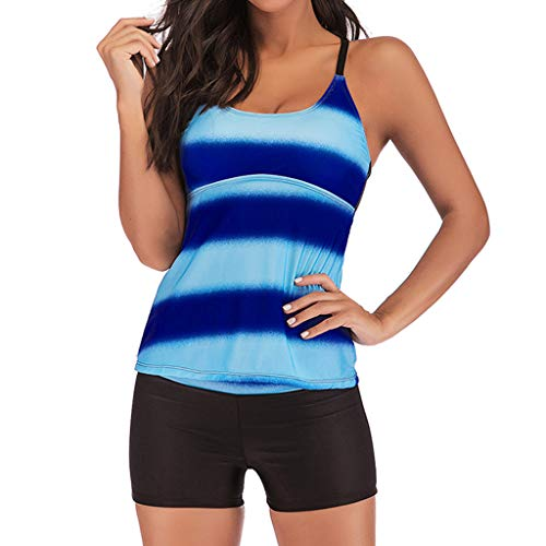 Tankini Swimsuits for Women Board Short Strappy Hollow Out Back Two Pieces Bathing Suits (M, Dark Blue)