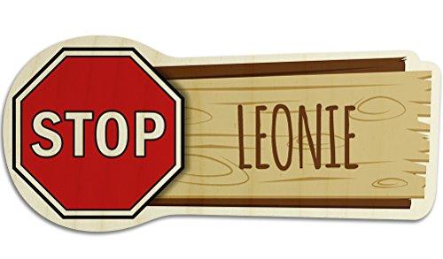 printplanet Türschild aus Holz mit Namen Leonie - Motiv Stopschild - Namensschild, Holzschild, Kinderzimmer-Schild